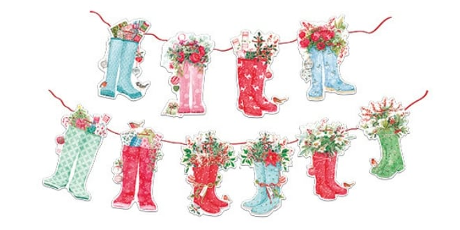 Festive Wellies Bunting - Flamingo Paperie